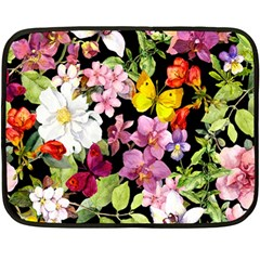 Beautiful,floral,hand painted, flowers,black,background,modern,trendy,girly,retro Double Sided Fleece Blanket (Mini)