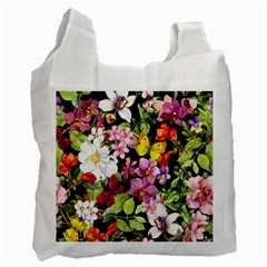 Beautiful,floral,hand painted, flowers,black,background,modern,trendy,girly,retro Recycle Bag (Two Side)