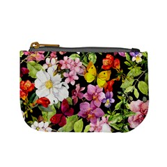 Beautiful,floral,hand painted, flowers,black,background,modern,trendy,girly,retro Mini Coin Purses