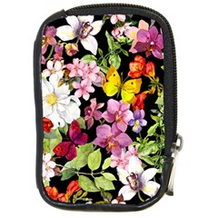 Beautiful,floral,hand painted, flowers,black,background,modern,trendy,girly,retro Compact Camera Cases