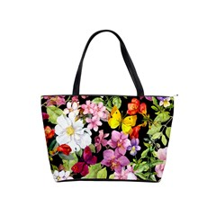 Beautiful,floral,hand painted, flowers,black,background,modern,trendy,girly,retro Shoulder Handbags