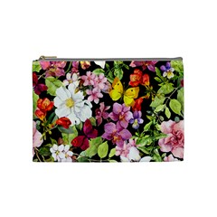 Beautiful,floral,hand painted, flowers,black,background,modern,trendy,girly,retro Cosmetic Bag (Medium)