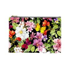 Beautiful,floral,hand painted, flowers,black,background,modern,trendy,girly,retro Cosmetic Bag (Large)