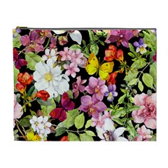 Beautiful,floral,hand painted, flowers,black,background,modern,trendy,girly,retro Cosmetic Bag (XL)
