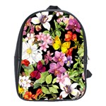 Beautiful,floral,hand painted, flowers,black,background,modern,trendy,girly,retro School Bag (Large) Front