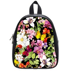 Beautiful,floral,hand painted, flowers,black,background,modern,trendy,girly,retro School Bag (Small)