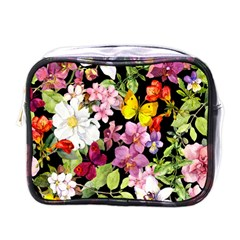 Beautiful,floral,hand painted, flowers,black,background,modern,trendy,girly,retro Mini Toiletries Bags