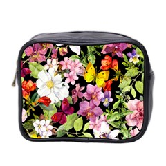 Beautiful,floral,hand painted, flowers,black,background,modern,trendy,girly,retro Mini Toiletries Bag 2-Side