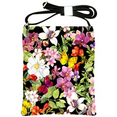 Beautiful,floral,hand painted, flowers,black,background,modern,trendy,girly,retro Shoulder Sling Bags