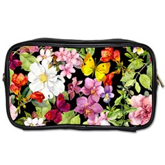 Beautiful,floral,hand painted, flowers,black,background,modern,trendy,girly,retro Toiletries Bags