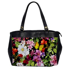 Beautiful,floral,hand painted, flowers,black,background,modern,trendy,girly,retro Office Handbags