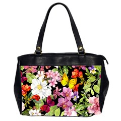 Beautiful,floral,hand Painted, Flowers,black,background,modern,trendy,girly,retro Office Handbags (2 Sides)  by 8fugoso