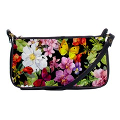 Beautiful,floral,hand Painted, Flowers,black,background,modern,trendy,girly,retro Shoulder Clutch Bags by 8fugoso