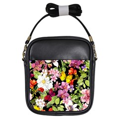 Beautiful,floral,hand painted, flowers,black,background,modern,trendy,girly,retro Girls Sling Bags