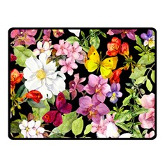 Beautiful,floral,hand painted, flowers,black,background,modern,trendy,girly,retro Fleece Blanket (Small)