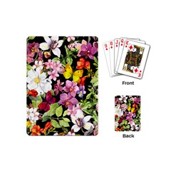 Beautiful,floral,hand painted, flowers,black,background,modern,trendy,girly,retro Playing Cards (Mini)