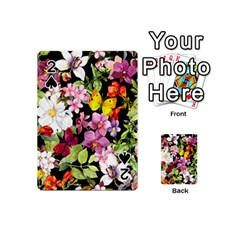 Beautiful,floral,hand painted, flowers,black,background,modern,trendy,girly,retro Playing Cards 54 (Mini)