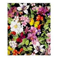 Beautiful,floral,hand painted, flowers,black,background,modern,trendy,girly,retro Shower Curtain 60  x 72  (Medium)