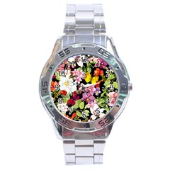 Beautiful,floral,hand painted, flowers,black,background,modern,trendy,girly,retro Stainless Steel Analogue Watch