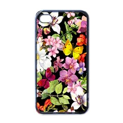 Beautiful,floral,hand painted, flowers,black,background,modern,trendy,girly,retro Apple iPhone 4 Case (Black)