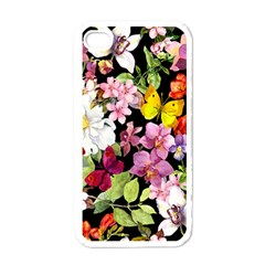 Beautiful,floral,hand painted, flowers,black,background,modern,trendy,girly,retro Apple iPhone 4 Case (White)