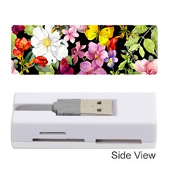 Beautiful,floral,hand painted, flowers,black,background,modern,trendy,girly,retro Memory Card Reader (Stick)