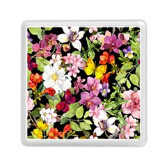Beautiful,floral,hand painted, flowers,black,background,modern,trendy,girly,retro Memory Card Reader (Square)