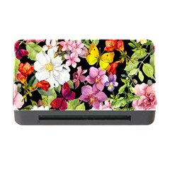 Beautiful,floral,hand painted, flowers,black,background,modern,trendy,girly,retro Memory Card Reader with CF