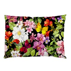 Beautiful,floral,hand painted, flowers,black,background,modern,trendy,girly,retro Pillow Case (Two Sides)
