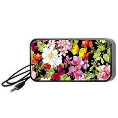 Beautiful,floral,hand painted, flowers,black,background,modern,trendy,girly,retro Portable Speaker