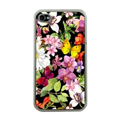 Beautiful,floral,hand painted, flowers,black,background,modern,trendy,girly,retro Apple iPhone 4 Case (Clear)
