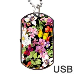 Beautiful,floral,hand painted, flowers,black,background,modern,trendy,girly,retro Dog Tag USB Flash (Two Sides)