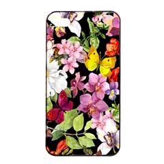 Beautiful,floral,hand painted, flowers,black,background,modern,trendy,girly,retro Apple iPhone 4/4s Seamless Case (Black)