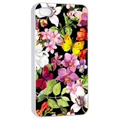 Beautiful,floral,hand painted, flowers,black,background,modern,trendy,girly,retro Apple iPhone 4/4s Seamless Case (White)