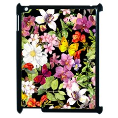 Beautiful,floral,hand painted, flowers,black,background,modern,trendy,girly,retro Apple iPad 2 Case (Black)