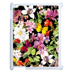 Beautiful,floral,hand painted, flowers,black,background,modern,trendy,girly,retro Apple iPad 2 Case (White)