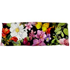 Beautiful,floral,hand painted, flowers,black,background,modern,trendy,girly,retro Body Pillow Case Dakimakura (Two Sides)