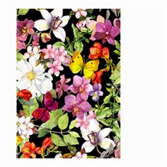 Beautiful,floral,hand painted, flowers,black,background,modern,trendy,girly,retro Small Garden Flag (Two Sides)