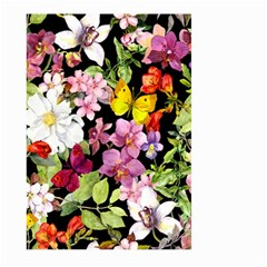 Beautiful,floral,hand Painted, Flowers,black,background,modern,trendy,girly,retro Large Garden Flag (two Sides) by 8fugoso