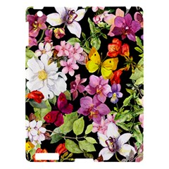Beautiful,floral,hand painted, flowers,black,background,modern,trendy,girly,retro Apple iPad 3/4 Hardshell Case