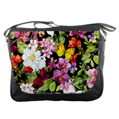 Beautiful,floral,hand painted, flowers,black,background,modern,trendy,girly,retro Messenger Bags