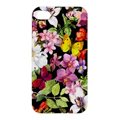 Beautiful,floral,hand painted, flowers,black,background,modern,trendy,girly,retro Apple iPhone 4/4S Premium Hardshell Case