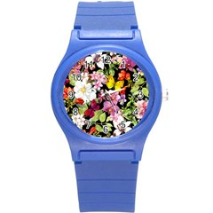 Beautiful,floral,hand painted, flowers,black,background,modern,trendy,girly,retro Round Plastic Sport Watch (S)