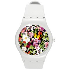 Beautiful,floral,hand painted, flowers,black,background,modern,trendy,girly,retro Round Plastic Sport Watch (M)