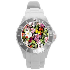 Beautiful,floral,hand painted, flowers,black,background,modern,trendy,girly,retro Round Plastic Sport Watch (L)