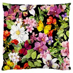 Beautiful,floral,hand painted, flowers,black,background,modern,trendy,girly,retro Large Cushion Case (Two Sides)