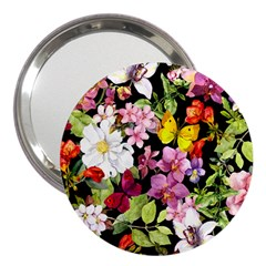 Beautiful,floral,hand painted, flowers,black,background,modern,trendy,girly,retro 3  Handbag Mirrors