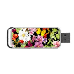 Beautiful,floral,hand painted, flowers,black,background,modern,trendy,girly,retro Portable USB Flash (One Side)