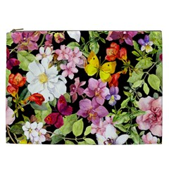 Beautiful,floral,hand painted, flowers,black,background,modern,trendy,girly,retro Cosmetic Bag (XXL)