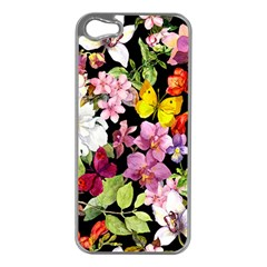 Beautiful,floral,hand Painted, Flowers,black,background,modern,trendy,girly,retro Apple Iphone 5 Case (silver) by 8fugoso